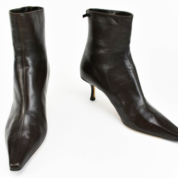de4c72d7c81 Jimmy Choo Shoes - Jimmy Choo Dark Brown Leather Short Boots Booties